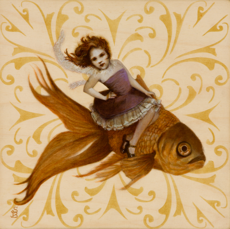 "Deirdre Sullivan-Beeman - Goldfish Girl2016, Oil and tempera on wood, 10x10"" (14x14"" framed) $600 Sold​"