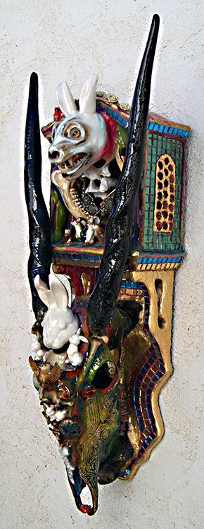 """Mikal Winn - Bunnybone/skull/mirror/glass/wood/found objects. 14x36x12"""", $3,600"""