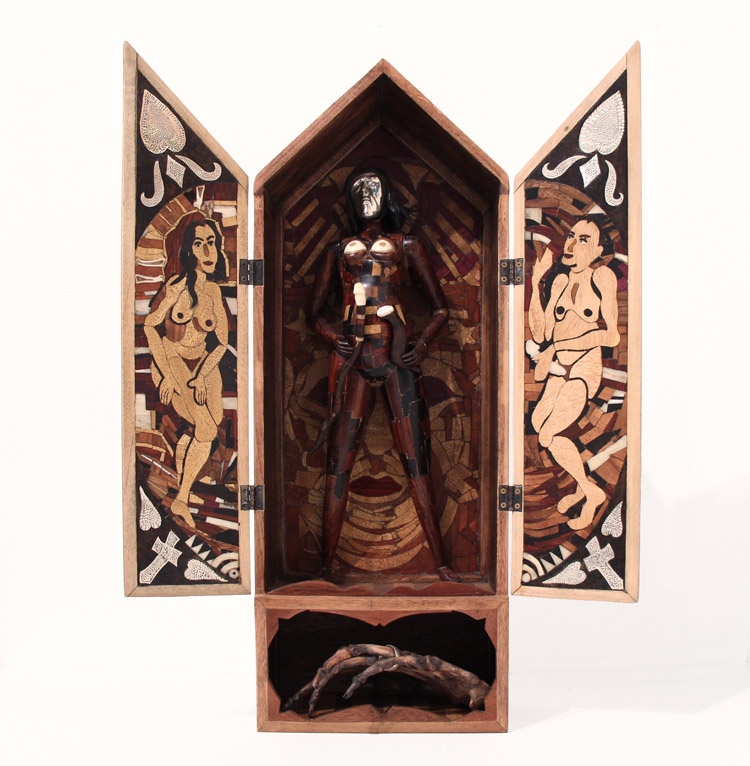 "Bruce Eichelberger - In the Beginning (opened) wood, opal, silver, bone (all inlay and carved), 17x7.5x4.5"" $2,400"