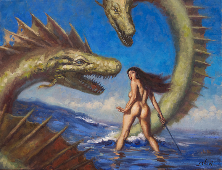 "Dave Lebow - Woman Attacked By Sea Serpents Oil on canvas, 21x27"", $1,500"