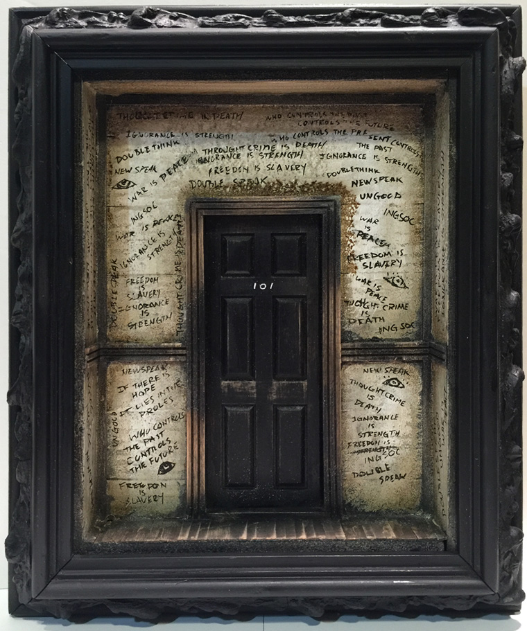 "Krystopher Sapp - Room 101 Based on the novel and movie ""1984"" Mixed media, 8.5x10x2"" $600"