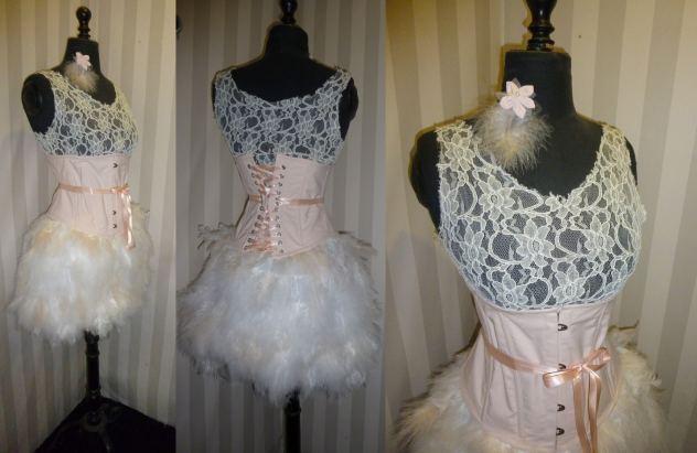 robe-de-mariee-courte-plumes-rose-nude-dentelle