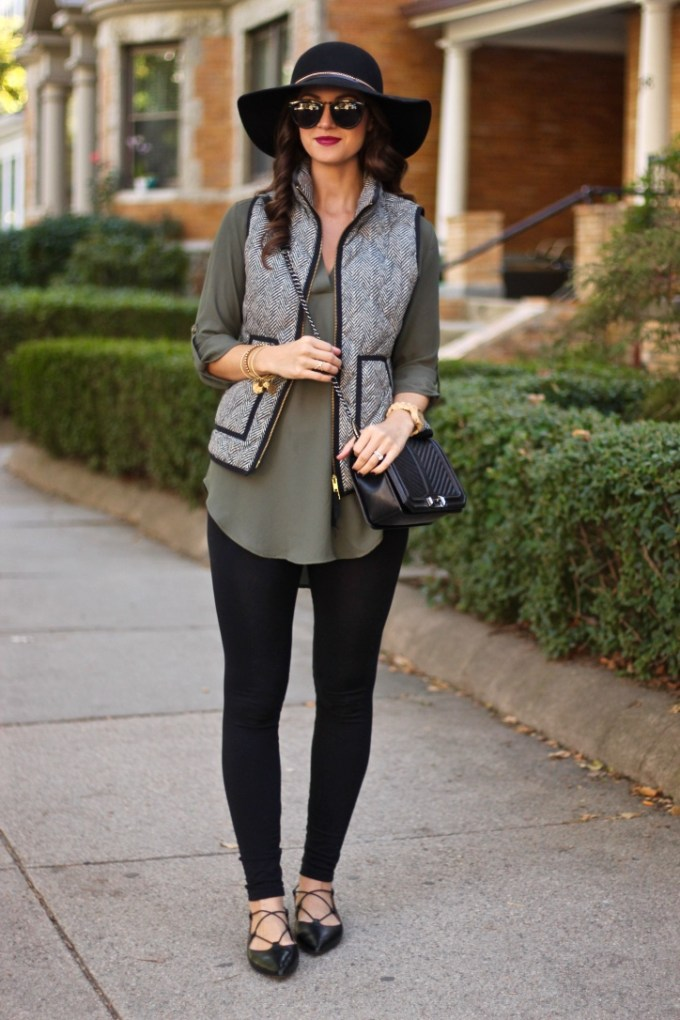 Over The Weekend Herringbone Puffer Vest And Lace Up
