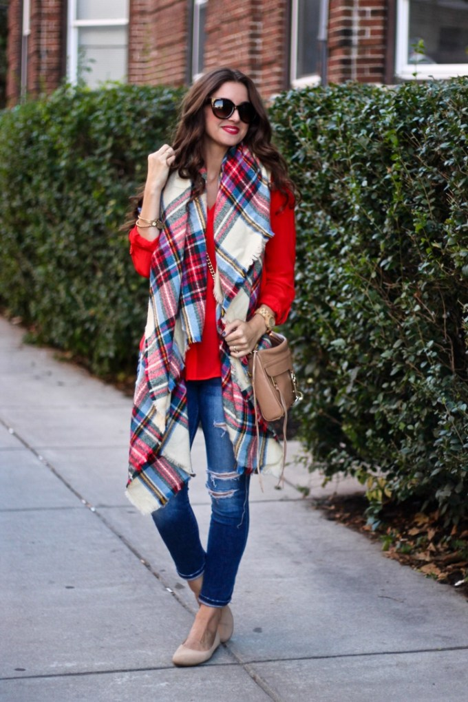Asos Oversized Plaid Blanket Scarf, Scarlet Red Silk Blouse by Trouve, Rebecca Minkoff MAC Bag in Camel Tan
