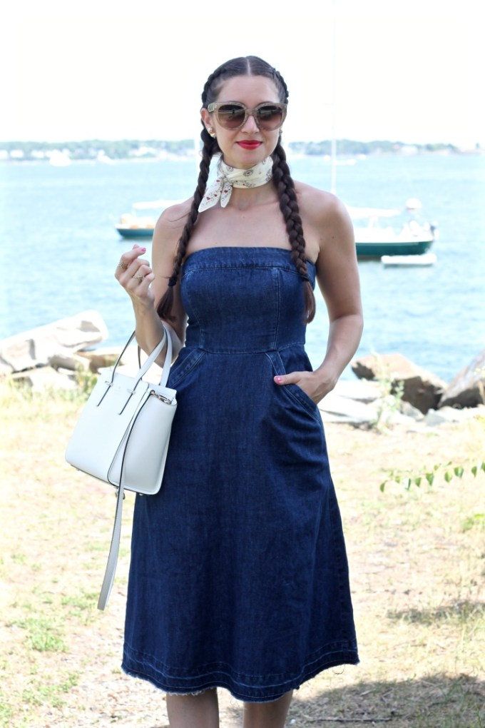 La Mariposa: Denim Dress, Strapless Denim Dress, Jean Derss, Dress with frayed hem, unraveled hem denim dress, jean dress, anthropologie denim dress, denim midi dress, madewell bandana handkerchief,