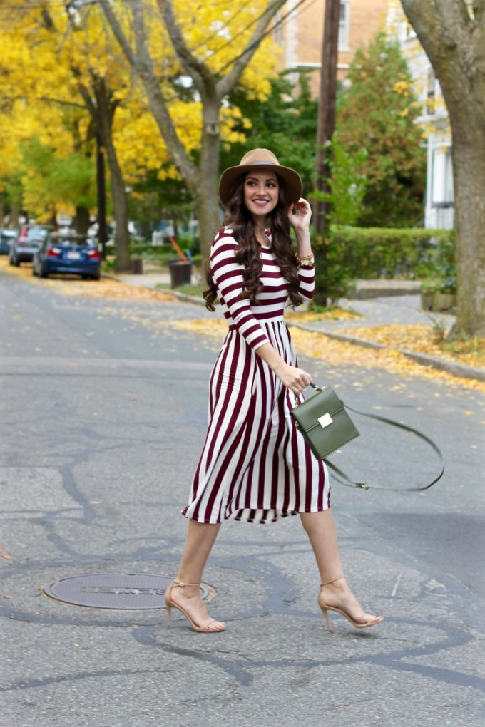 La Mariposa Boston Fashion Blog, Burgundy Striped Midi Dress, Striped Dress, Midi Dress, Fall Midi Dress, Shop Jessa Kae Dress