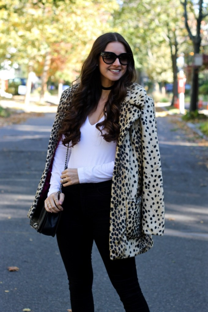 La Mariposa Boston Fashion Blog, Leopard Faux FUrCoat