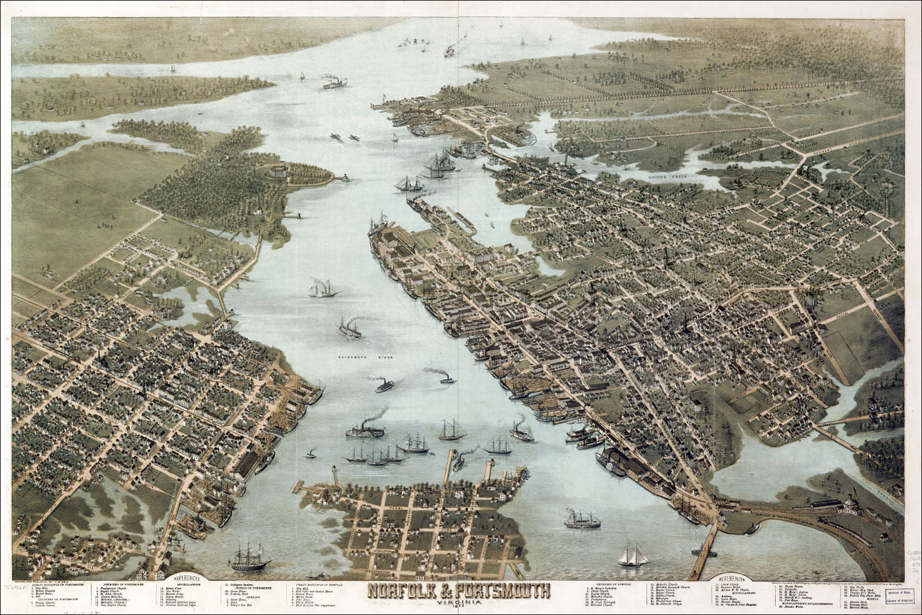 Maps  1800 1925   Lambert s Point A Bird s Eye View of Norfolk in the late 1800s  The Norfolk and Western  railroad