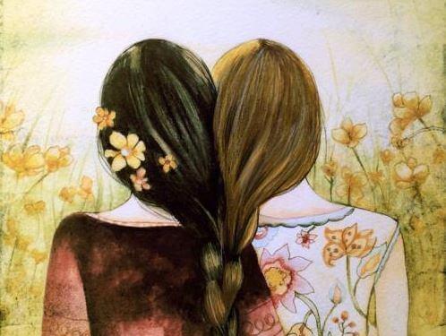 Resultado de imagen de abrazo de mujeres arte