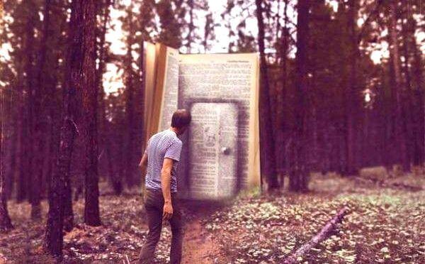 hombre ante un libro gigante