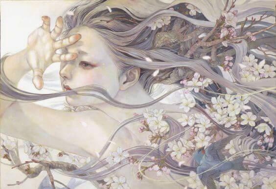 mujer con flores sanando heridas