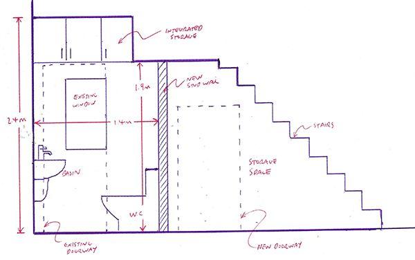 Bản thiết kế phòng vệ sinh dưới cầu thang
