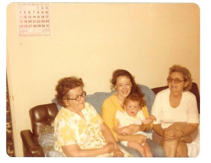 A cherished photo of my great-grandmother, grandmother, mother, and myself. Four generations of bad-ass ladies.