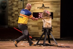Dan Petrescu of Romania performs during the Qualifying for the Stihl Timbersports World Championship in Lillehammer, Norway on November 02, 2017.