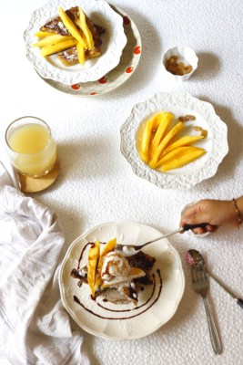 Sunday mornings just got better!..Cinnamon french toasts made special with mangoes and delicious coconut ice cream.
