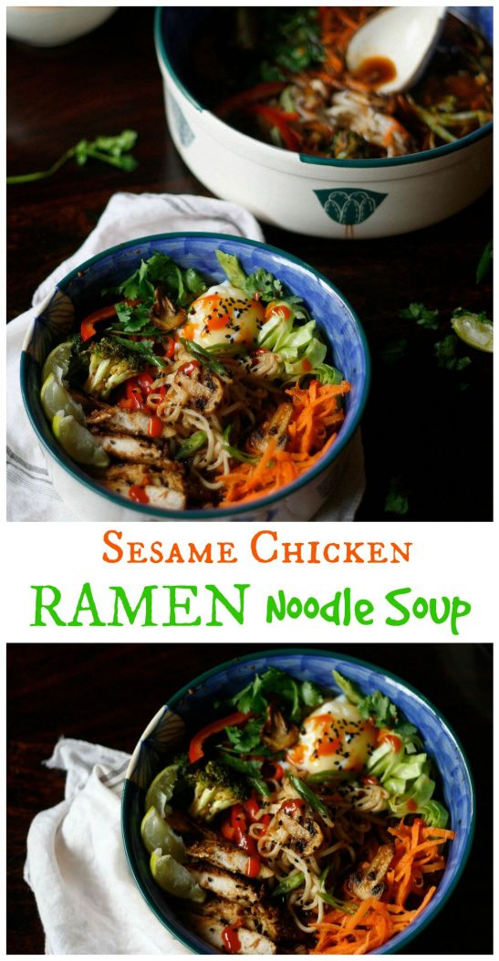 A quicker and heart warming version of ramen soup with a delicious broth, sesame chicken, mushrooms and  perfect runny egss!!