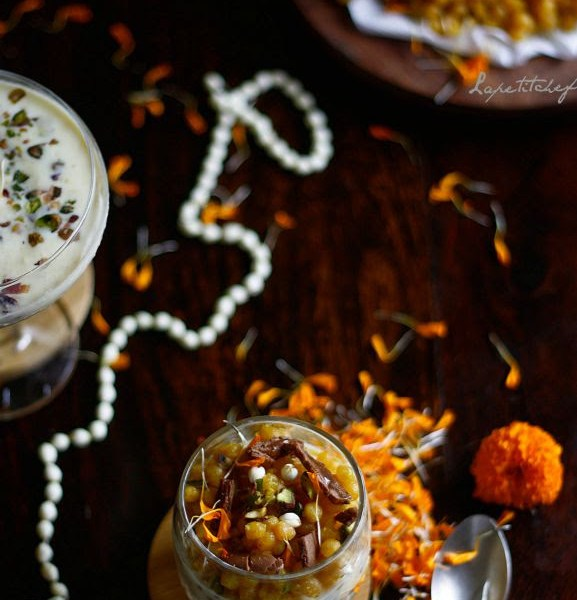 Boondi baked in home made rabri (thickened sweet milk) with pistachios, chocolate. Easy 10 min dessert served parfait style!