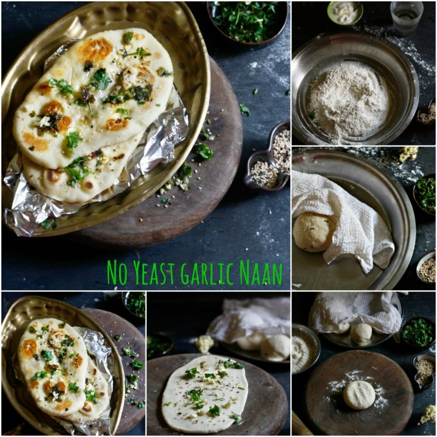 "No yeast garlic naan is the answer to all your ""bread"" prayers. The perfect accompaniment to your curry, this no-yeast, instant naan ensures you don't have to wait for hours when you are in the mood for some hot off the stove garlic butter naan."