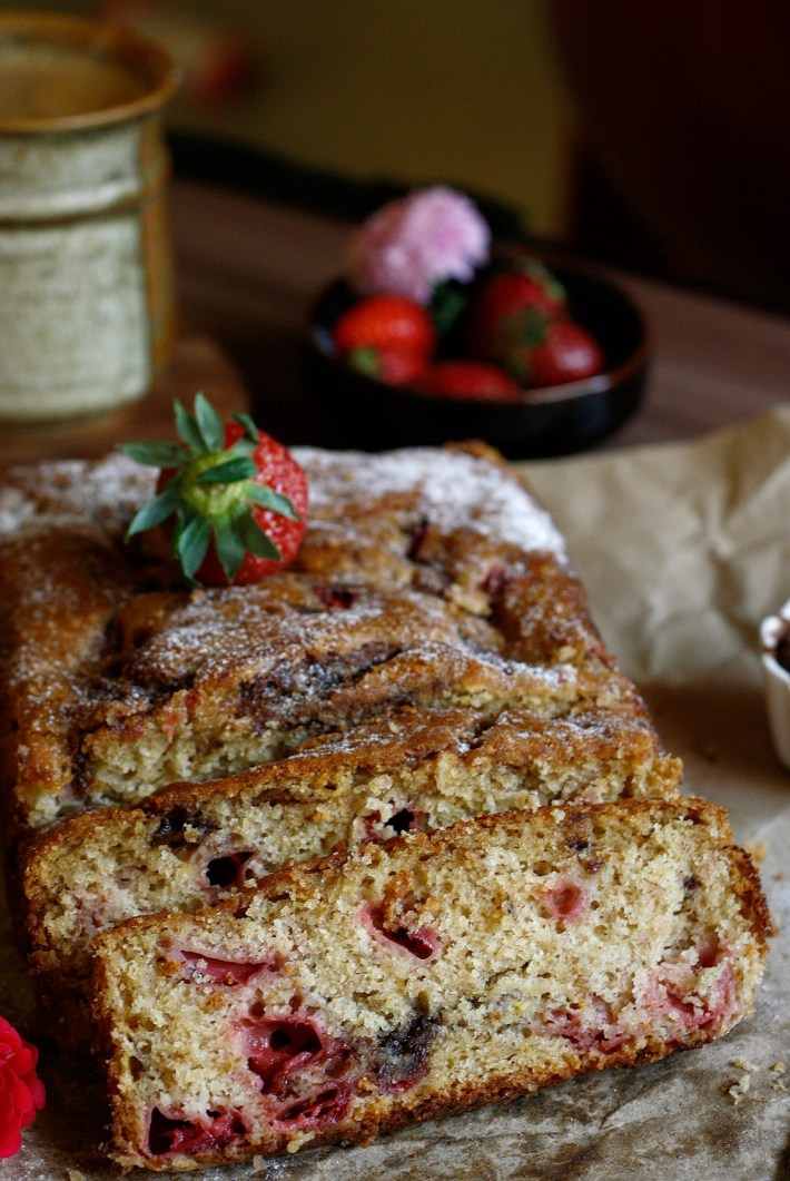 banana strawberry bread is a make it any time, eat it anytime you wish kind of dessert, this gorgeous bread is baked with no butter, using just yogurt! As a special bonus I swirl some Nutella in the bread and layer with fresh strawberries to make things much better!