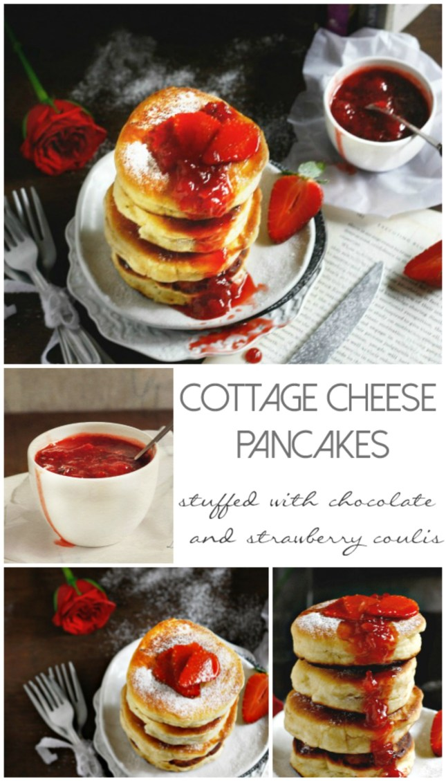 "(cottage cheese pancakes), stuffed with chocolate and drizzled with strawberry sauce is a simple and easy way to show your love , coz after all food is nothing but ""Love made edible"".. right?"