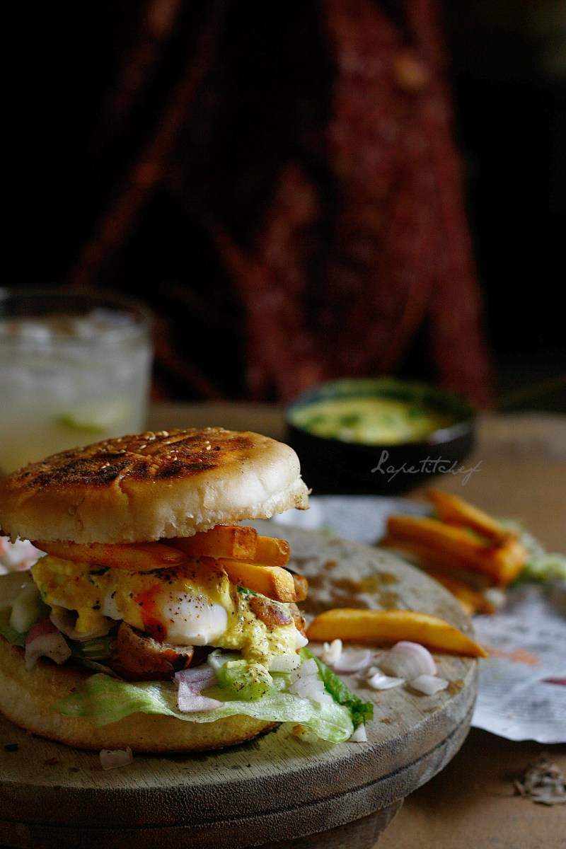 Poached egg burger with garlic aioli