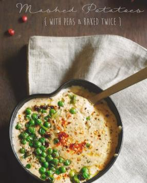 Creamy baked mashed potatoes with peas is an occasional indulgence everyone needs in there life. The perfect side to most meat dishes, this bowl of fluffy,flavorful potato mash is an instant hit with kids and adults alike!