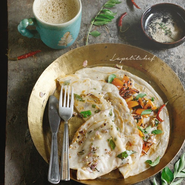 Dosa is listed as one of the top 50 most delicious things to eat in the world. This is chakuli, originating from Orissa, this delicious savory crepe is the perfect way to begin your day. I have given it a healthier twist by stuffing it with my favorite vegetables.