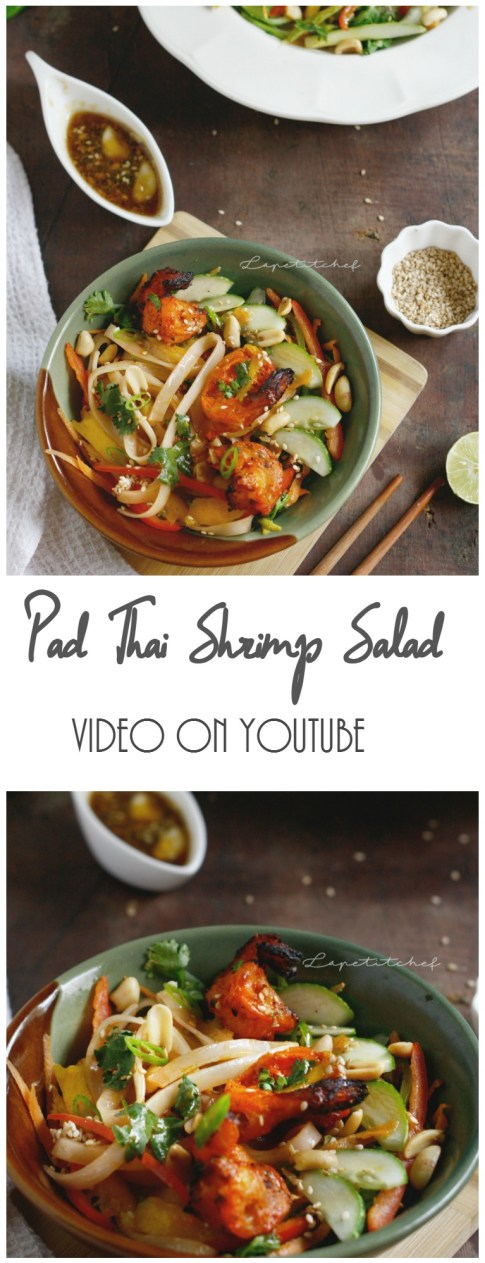 Padthai shrimp salad bowl is a delicious cold salad perfect for summers and busy weeknight. It is loaded with different tastes and textures. Topped with grilled shrimps and dressed with a flavorful sesame oil, lime and jaggery dressing, this salad is sheer perfection.