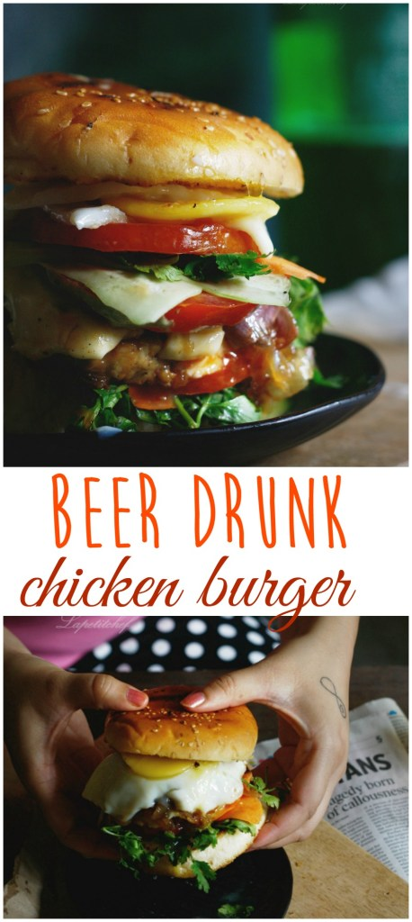 beer drunk chicken burger