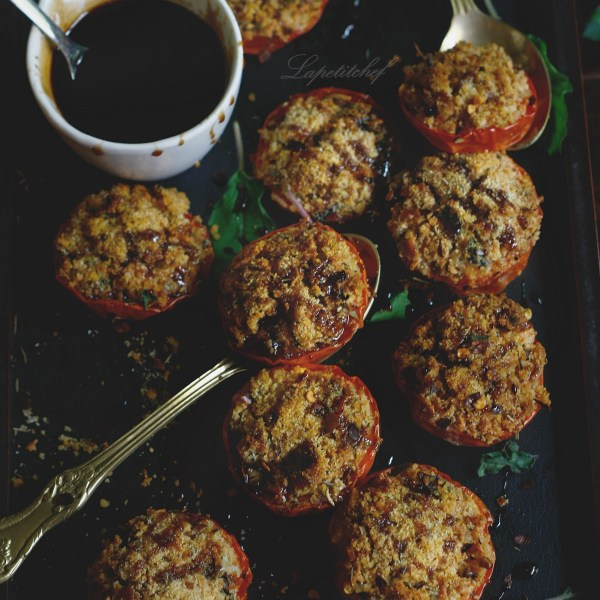 parmesan stuffed tomatoes with balsamic glaze and brown butter