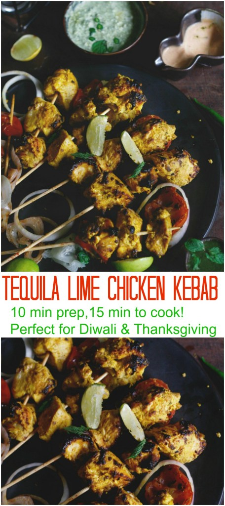 Tequila Lime chicken kebab with spiked sriracha mayo