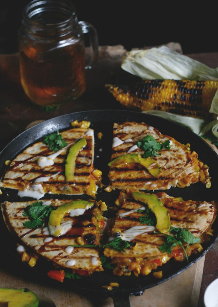 Avocado and grilled corn quesadilla