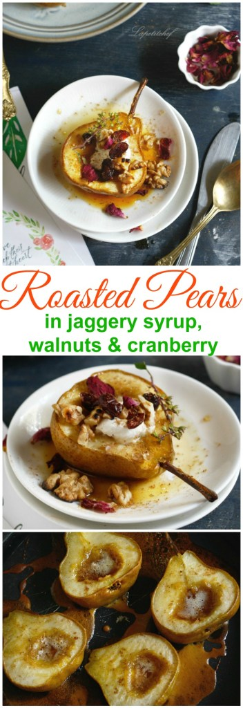 Roasted pears in organic jaggery syrup.