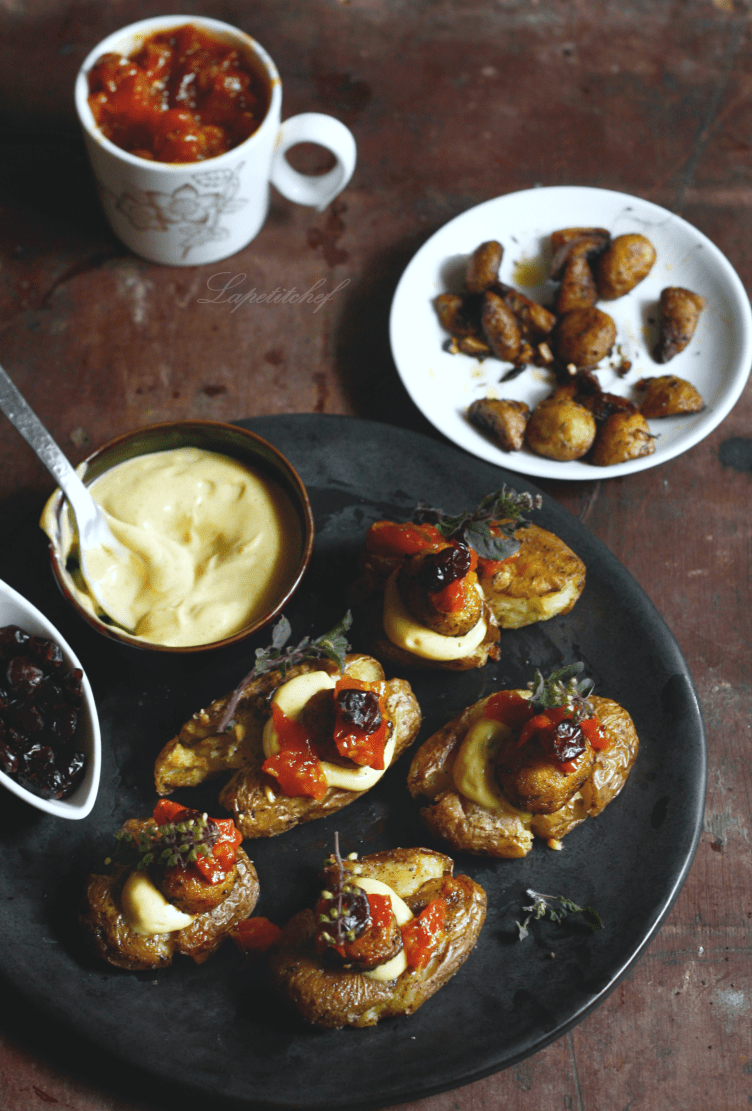 Smashed potatoes with brown butter mushroom and cranberries