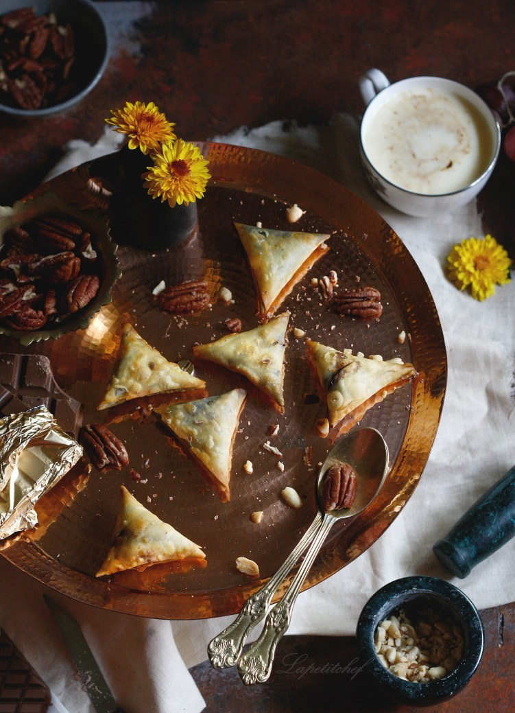 Chocolate samosa with salted caramel and pecans