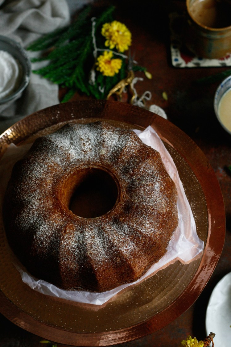 Saffron whiskey bundt cake with white chocolate ganache