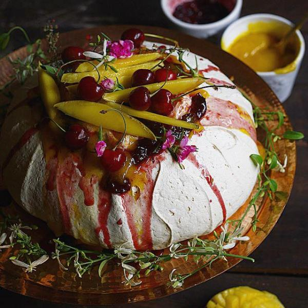 pavlova with boozy cherries