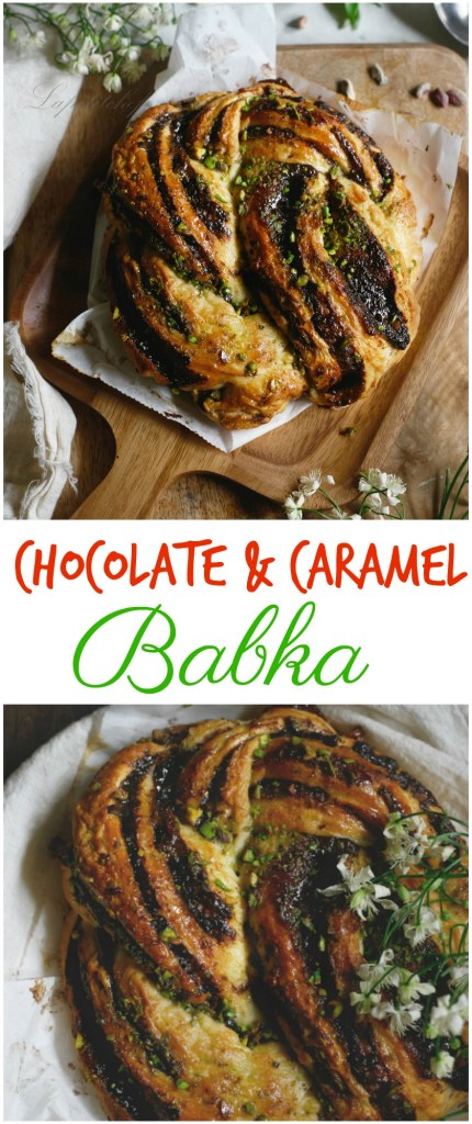 chocolate and caramel babka