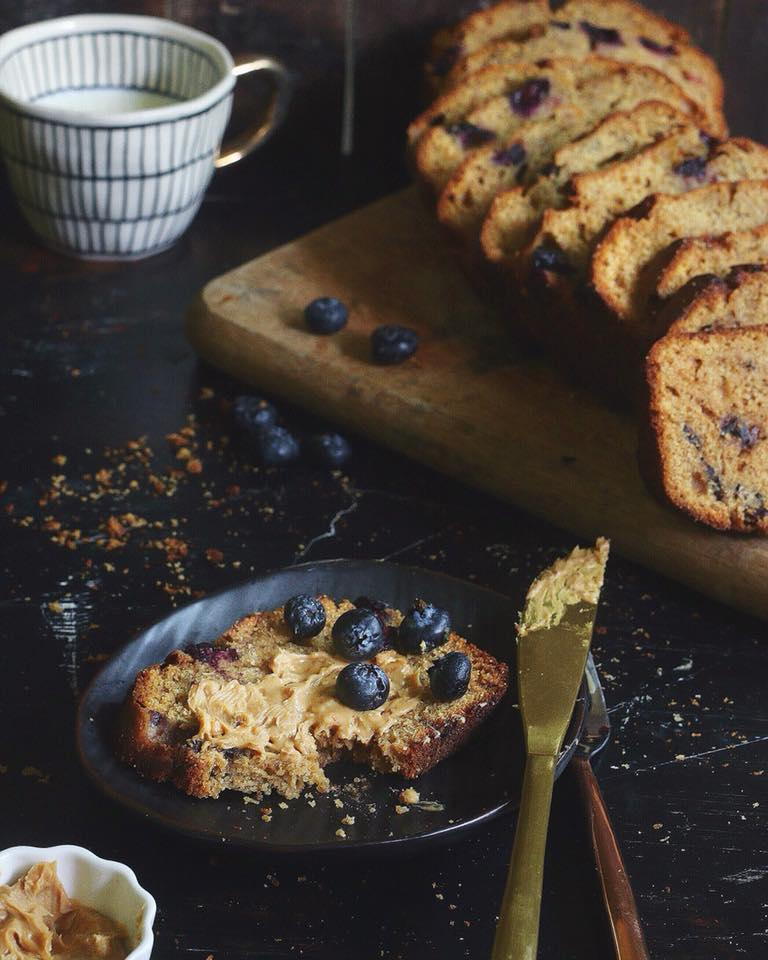 banana bread with blueberry and coffee