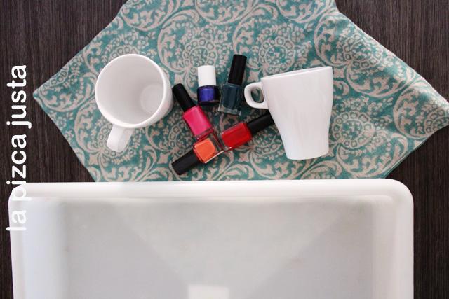 Materiales necesarios para las tazas marmoladas