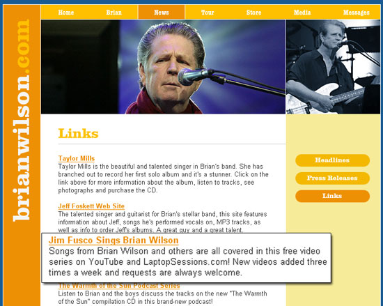 Jim's link on Brian Wilson's site!