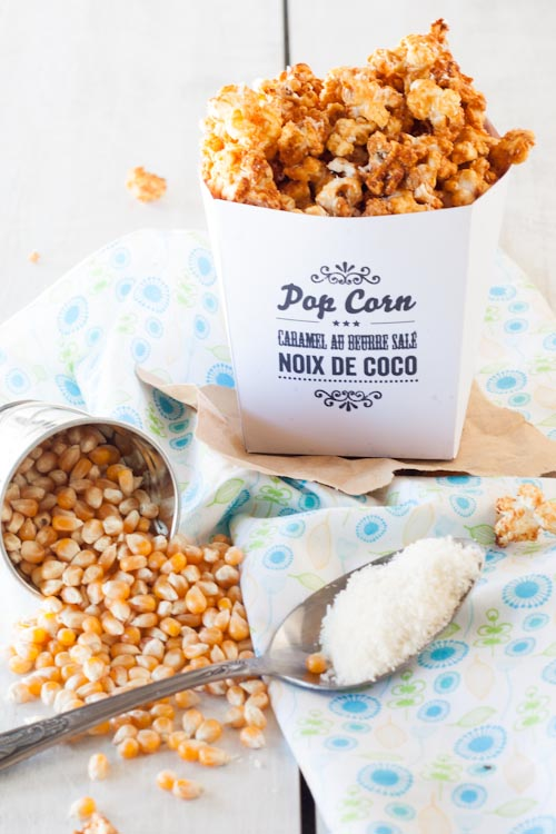 pop corn caramel au beurre sal noix de coco la. Black Bedroom Furniture Sets. Home Design Ideas