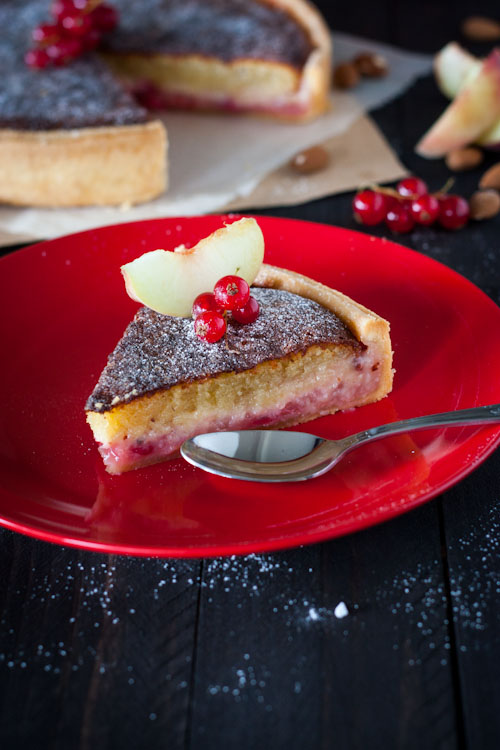 Tarte Pêche-Groseille et Crème d'Amande