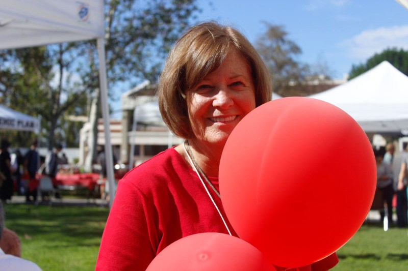 """Peggy Dakin, health sciences and human services program specialist has been organizing the """"Red Ribbon""""  day for ten  years. Lariat/ Elizabeth Ortiz."""