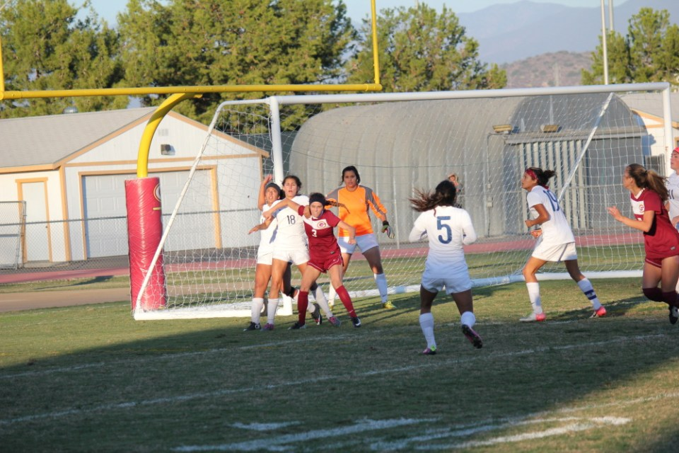 Saddleback College women's soccer team offense prepares to receive throw in No.3 Devin Scelsi, freshman, forward, plays well being out numbered by Lasers defense