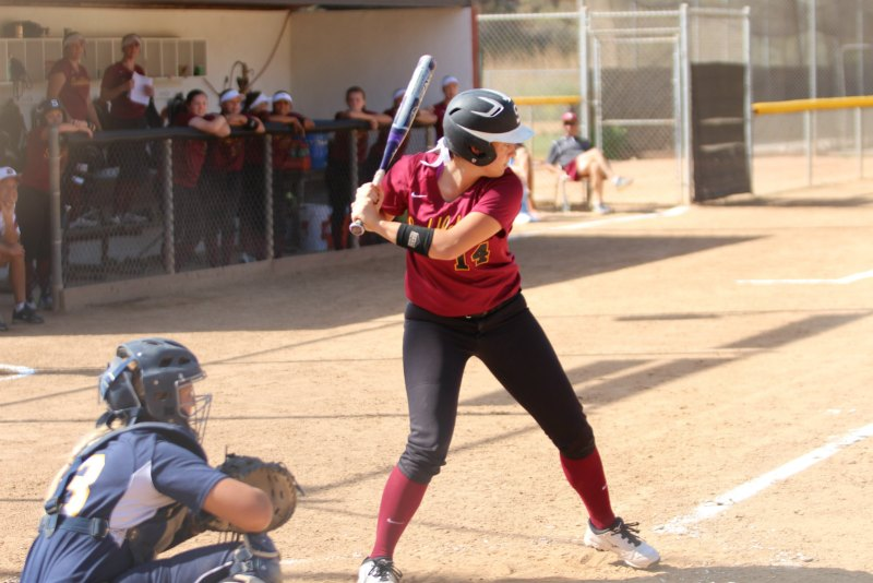 Kylee Lologo prepares to hit a potential home run for her team (Jonathan Anson)