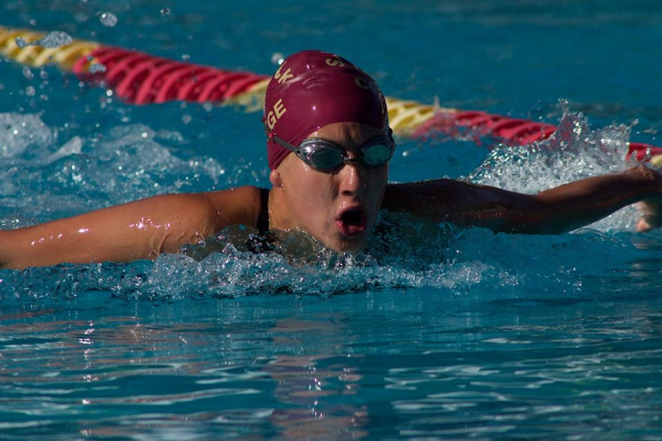 Saddleback freshman Daniel Peralta competes in the 200 yard butterfly competition during Saturday's OEC Championships. The Gauchos, who hosted the event, came in fourth place.