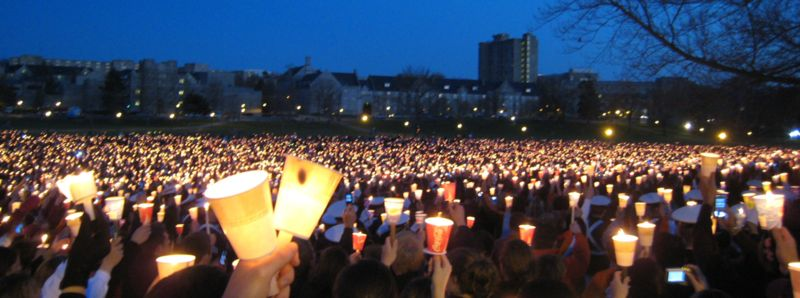 A memorial for the victims of the shooting at Virginia Tech. 32 people were murdered and 17 others injured. (Wikimedia Commons)