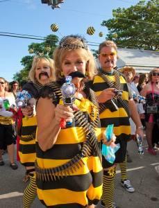 Halloween enthusiasts walking through a festival