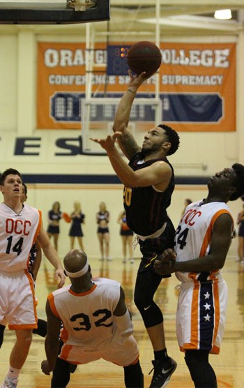 Jalen Hall hits a tough basket in the second half at Orange Coast College. The Gauchos are moving on to Riverside next week. (Lariat/Matthew Kirkland)